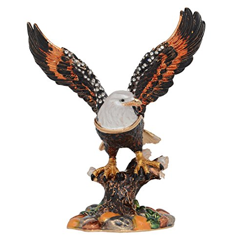 Minihouse Bald Eagles Trinket & Jewelry Box Bird Figurine Pewter Collectible Novelty Gifts for Women Bird Decoration Necklace Holder