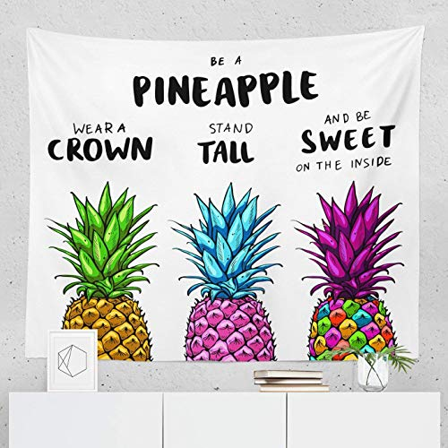 Pineapple Tapestry Quote Motivational Saying Inspiration Wall Hanging Tapestries Decor College Dorm Living Room Art Gift Bedroom Dormitory Bedspread Small Medium Large - Printed in the USA