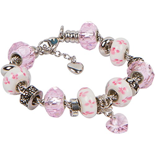 Heart Charm Bracelet With European Bead Charms For Women and Girls, Stainless Steel Rope Chain, Love 7.5 Inch