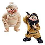 Garden Gnome Statue - Far East Garden Fighters Sumo Wrestler & Ninja Gnome Set - Lawn Gnome