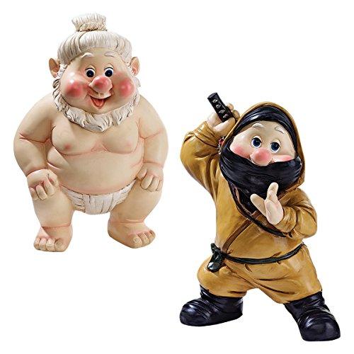 Garden East Far - Garden Gnome Statue - Far East Garden Fighters Sumo Wrestler & Ninja Gnome Set - Lawn Gnome