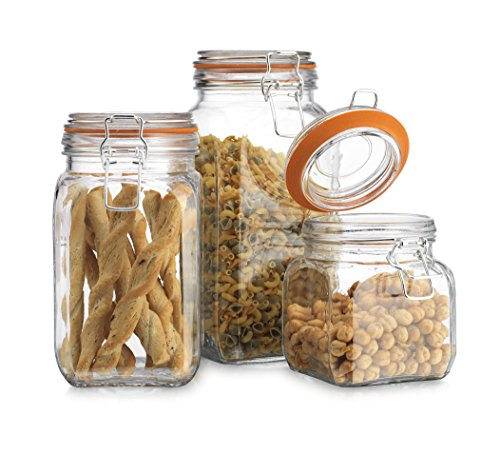 High Quality Airtight Glass Canister Hermetic Seal Bail & Trigger /Jar with Lid • Use As Tea - Coffee - Sugar Canister • Wide Mouth / Square Shape / Set of 3