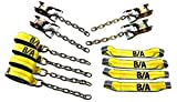 BA Products Ships in 1 to 2 Business Days 38-218C-x1 8 Point Tie Down System Includes Ratchets with Chains and 18' Straps for Rollback
