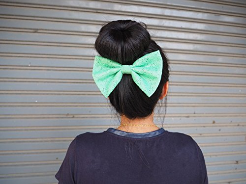 GREEN LACE BIG BOW HAIR CLIP