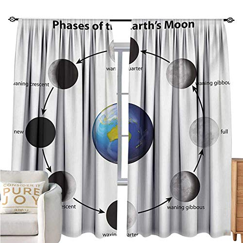 bybyhome EducationalBlackout Window CurtainPhases on The Moon as seen from Earth Celestial Rotation Astrology CycleDecor Curtains by W96 xL72 Black Grey Blue (Fireplace Celestial Screen)