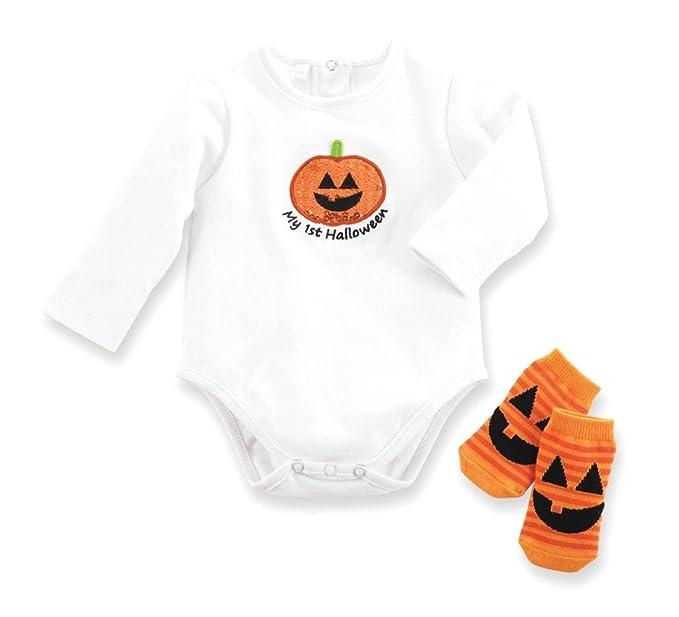 my 1st halloween box 2 pc set pumpkin onesie and socks 0 6 months