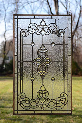 ffany Style Stained Glass Clear Beveled Window Panel ()