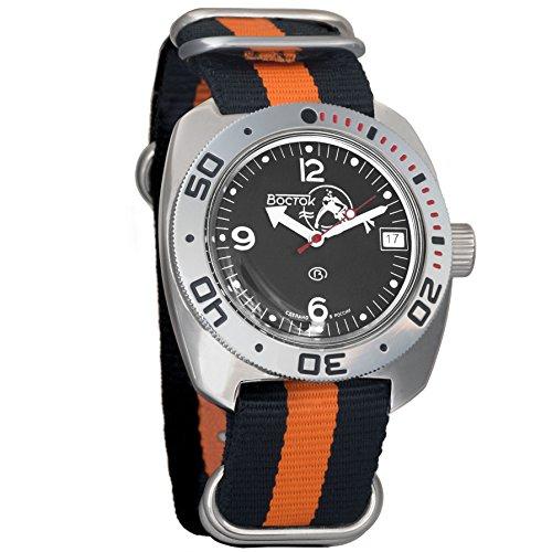 - Vostok Amphibian Scuba Dude Mechanical Wrist Watch Blue and Black Dials (710634, Black+Orange)