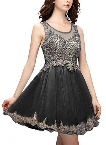 Bbonlinedress Vestido De Noche Fiesta Cóctel Corto Con Aplicaciones Negro
