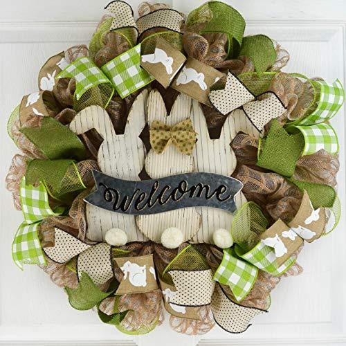 Rustic Easter Bunny Door Wreath | Welcome Easter Wreath | Jute Burlap Moss Green Ivory