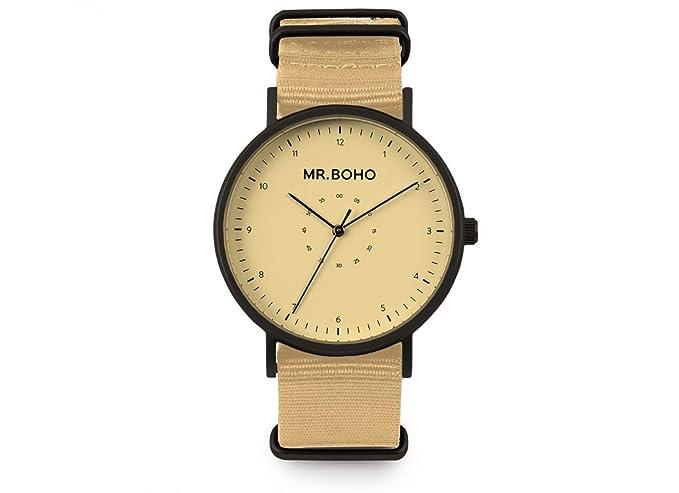 Reloj Mr Boho para Mujer con Correa Amarillo y Pantalla en Azul Amarillo 00728663: Amazon.es: Relojes