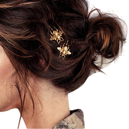 BESSKY 2PCS Style Girl Exquisite Gold Bee Hairpin Side Clip Hair Accessories