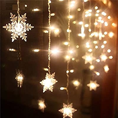 Christmas 20 LED Snowflake Fairy Curtain String Lights Xmas Wedding Party indoor Lantern Decoration 2.1M