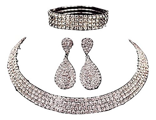 Crystal Rhinestone Necklaces Earrings Bracelets (Rhinestone Crystal Choker Necklace 2/3/4/5 Rows Earrings and Bracelet set Crystal and Durable Clasp (4RowSilver))