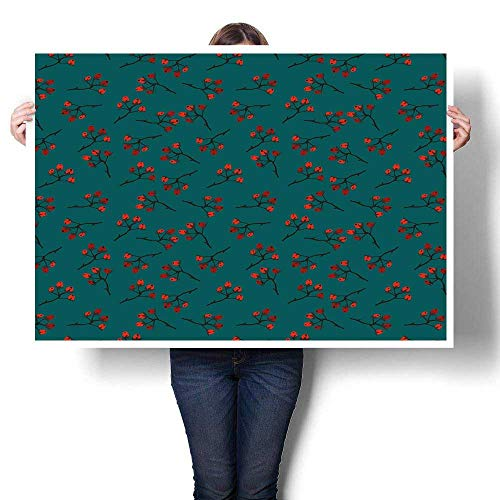 J Chief Sky Teal Wall Decoration Whimsical Modern Style Berry Christmas Pattern Hand Drawn Rustic Traditional Digitally Printed Teal Ruby Vermilion 28