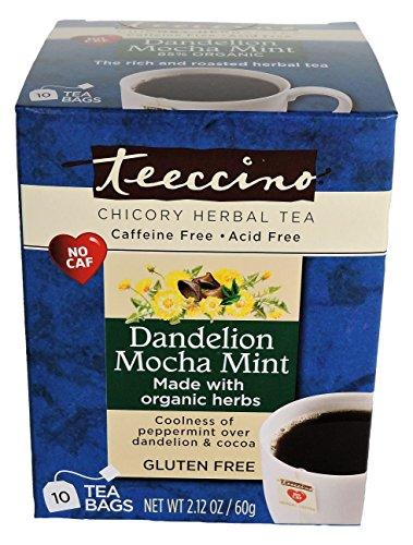 Gluten Free Mint Tea (Teeccino Dandelion Mocha Mint Herbal Tea Bags, 85% Organic, Gluten Free, Caffeine Free, Acid Free, 10 Count)