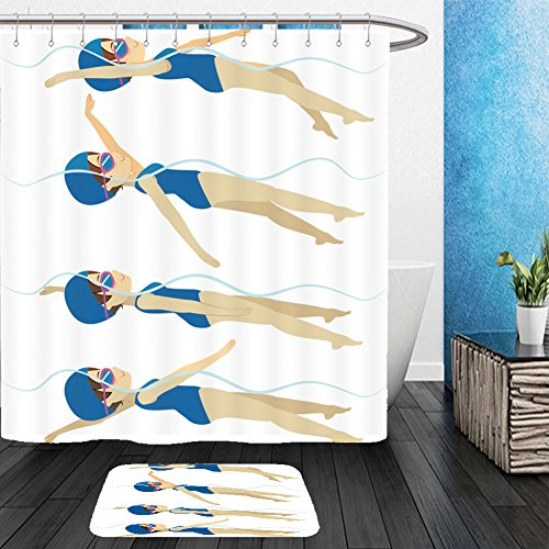 Costumes Swimming Training Funky (Vanfan Bathroom 2 Suits 1 Shower Curtains &  1 Floor Mats set with athlete woman swimming backstroke stroke on various different poses training 408194926 From Bath)