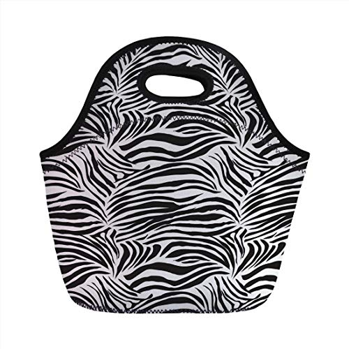 - Bjiansoah Neoprene Lunch Bag,Zebra Print,Striped Zebra Animal Print Nature Wildlife Inspired Fashion Simple Illustration,Black White,for Kids Adult Thermal Insulated Tote Bags Handbag