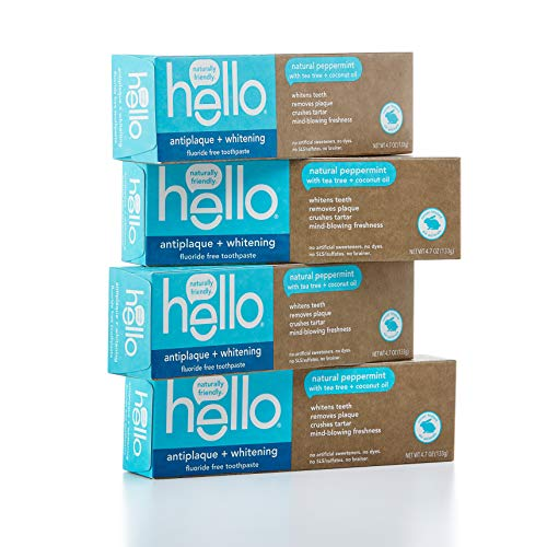 Hello Oral Care Fluoride Free Antiplaque & Whitening Toothpaste, Vegan & SLS Free, Natural Peppermint with Tea Tree Oil & Coconut Oil, 4Count (Best Natural Toothpaste)