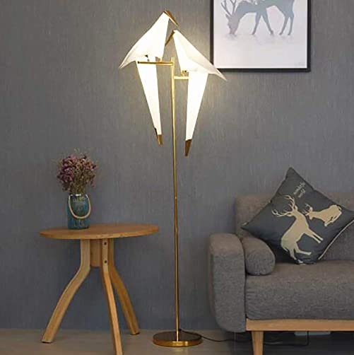 72inch Modern LED Floor Lamp Paper Crane Bird Floor Light Gold Metal PVC Lampshade Lighting Fixture