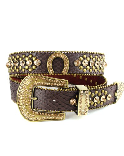 NYFASHION101 Genuine Leather Rhinestone Horseshoe Belt with Iced Out Snap On Buckle, (M/L, Brown) (Horseshoe Rhinestone Belt)