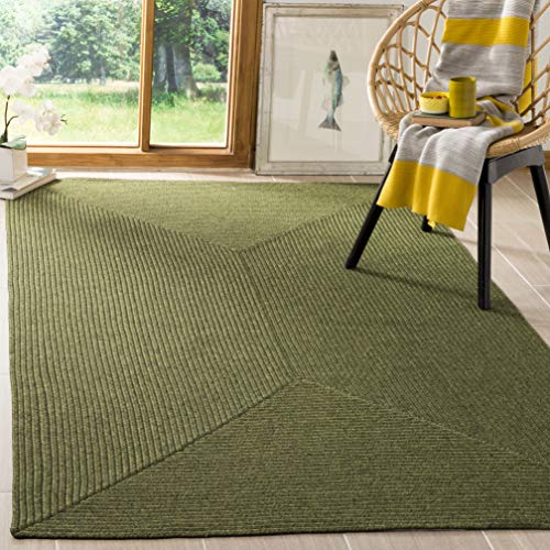 Safavieh Braided Collection BRD315A Hand Woven Green Area Rug (2' x 3') (Green Rug Small)