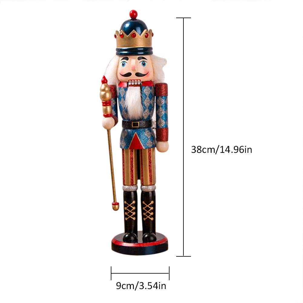 Biback Casse-Noisette marionnette 38CM en Bois de No/ël Casse-Noisette Roi Soldat marionnette Paillettes Scintillement Cadeau de No/ël