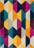 "Elise Shapes Fuchsia Purple Blue Yellow Orange Modern Geometric Hand Carved 8x10 (7'10"" x 9'10"" ) Area Rug Easy to Clean Stain & Fade Resistant Thick Soft Plush"