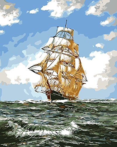 Paint by Numbers Diy Painting,Paint by Number Kit fj0005-landscape Sea Sailboat Wooden Framed 16