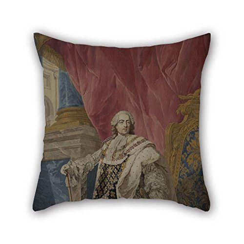 beeyoo Throw Pillow Covers of Oil Painting Pierre Fran?ois Cozette - Portrait De Louis XV En Costume Royal for Wedding Car Seat Her Bench Birthday Teens Boys 16 X 16 inches / 40 by 40 cm(Two Sides)