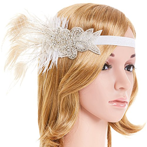 [eforpretty White Leaf Flower Crystal 1920s Flapper Headpiece Headband with French Netting Accent,One] (1920s Halloween)