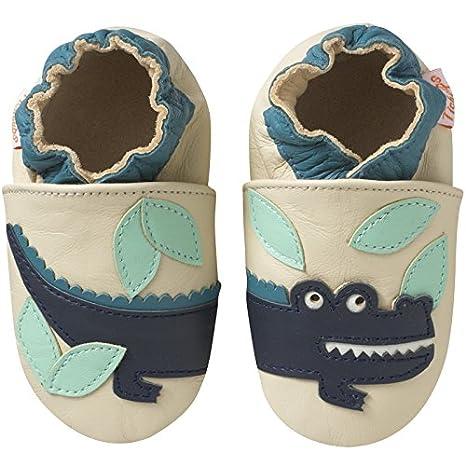 ec25b95f5d72a Tichoups Chaussons bébé cuir souple Achille le crocodile 16 17 ...