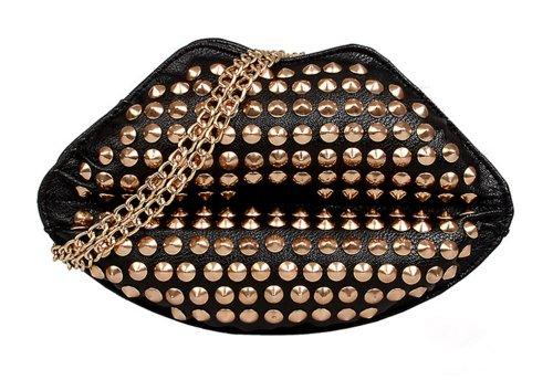 CM Star Rocker Kiss Shiny studwork Rivets Clutch Purse Handbag Crossbody Bag, Bags Central