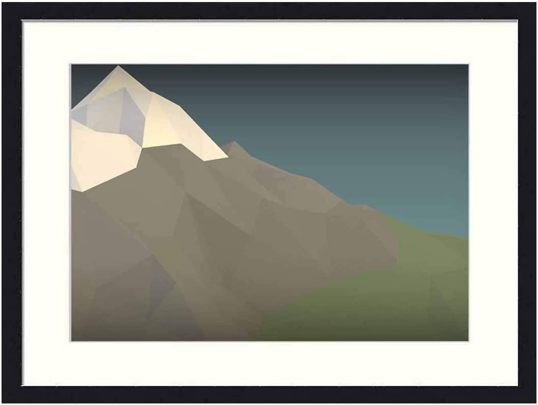 OiArt Wall Art Print Wood Framed Home Decor Picture Artwork(24x16 inch) - Mountain Blender 3D Graphics Low-Poly Vignette