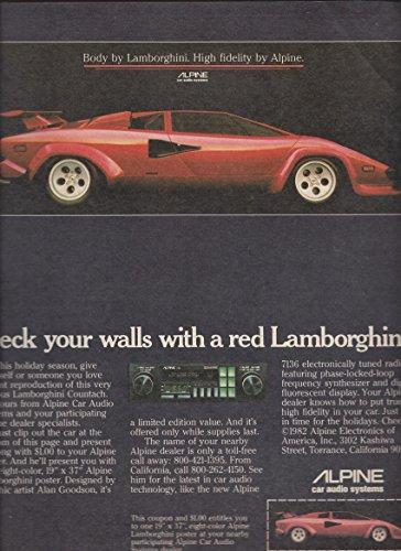 r 1981 Alpine Car Stereos: Red Lamborghini Deck Your Walls ()