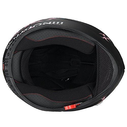 """Biohazard"" Full Face Matte Pink Dual Visor Street Bike Motorcycle Helmet by Triangle [DOT] (Medium)"