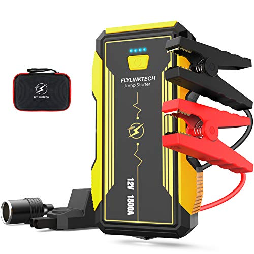 FLYLINKTECH Car Jump Starter, 1500A Peak Current Automative Battery Booster Emergency Life Saver with USB3.0 Output & Safety Hammer