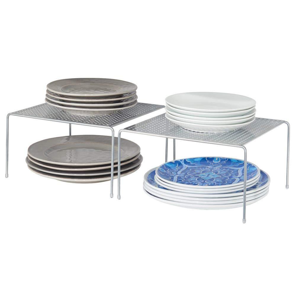 mDesign Set da 2 Mensole porta piatti impilabili per la cucina – Scaffale per stoviglie antiscivolo in metallo – Piccolo scolapiatti da appoggio per tazzine e utensili – argento MetroDecor
