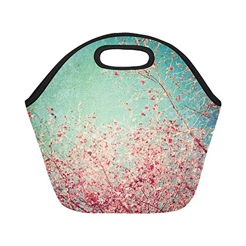 (Insulated Neoprene Lunch Bag Autumn Pink Leafs On Blue Textured Large Size Reusable Thermal Thick Lunch Tote Bags For Lunch Boxes For Outdoors,work, Office, School)