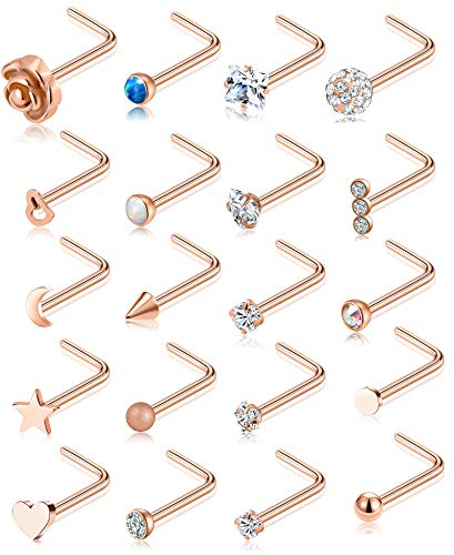 Tornito 20G 20Pcs Nose Ring CZ Nose Stud Retainer L Shaped Labret Nose Piercing Jewelry Set Stainless Steel Rose Gold Tone