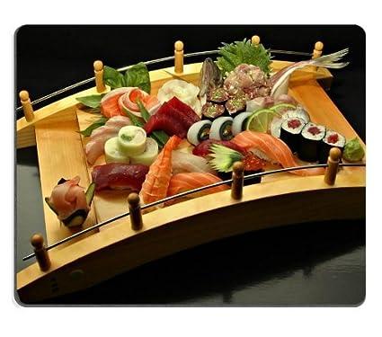 Sashimi Sushi Bandeja de madera Puente Alfombrillas de ratón personalizadas para apoyo Ready alta calidad ECO