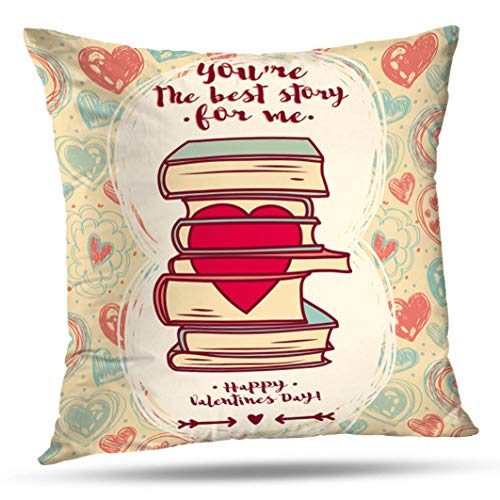 entines Day Doodle Stack Books with Heart Retro Book Kid Decorative Throw Pillows Cushion Cover for Bedroom Sofa Living Room 18X18 Inches ()