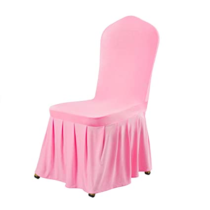 Uxcell Stretch Spandex Round Top Dining Room Chair Covers Long Ruffled Skirt Slipcover For Wedding Banquet Party Chair Covers Pink 1pc