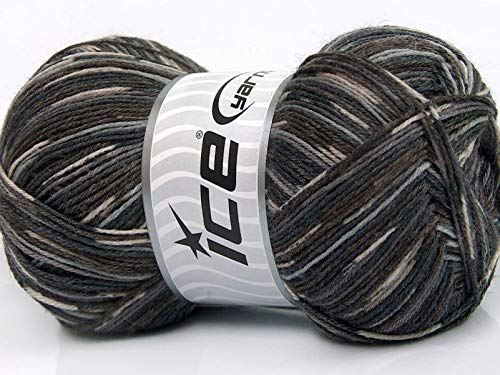 (Bamboo Sock Yarn - Browns, Greys, Cream Self-Patterning Superwash Merino Wool, Bamboo, Nylon Blend Sock Yarn - 100 Gram)