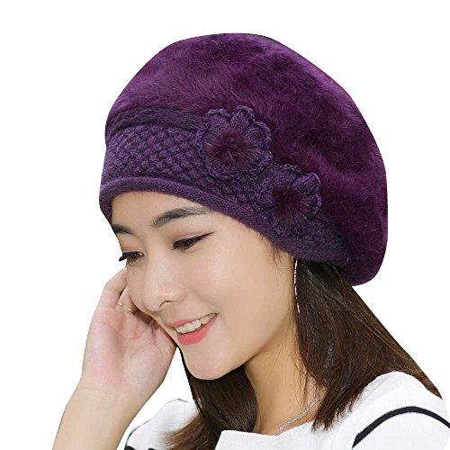 Women Hat, ღ Ninasill ღ Exclusive Flower Knit Crochet Beanie Hat Warm Cap Beret (B) - Exclusive Crochet