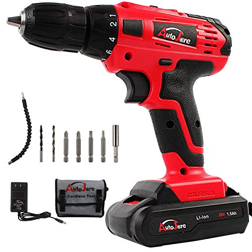 20V Electric Cordless Drill – 3/8″ Keyless Chuck, Lightweight Cordless Drill,Rechargeable Lithium-Ion battery Drill/Driver,Durable&Fast Application Speeds Dirll kit by AUTOJARE