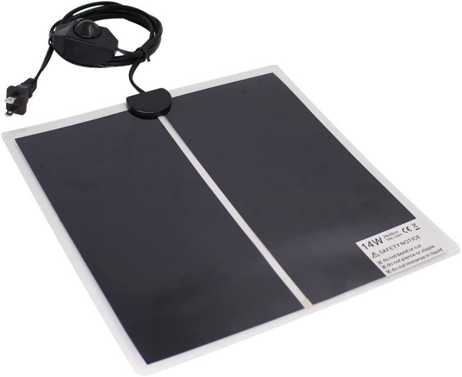 14W 11x11 Rely2016 110V Reptile Heating Pad Reptile Under Tank Warmer Mat Heat Mat with Temperature Controller