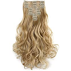 "OneDor 20"" Curly Full Head Synthetic Kanekalon Heat Resistant Clip in Hair Extension 9pcs (24H613)"