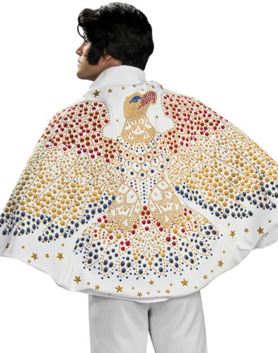 Children's Elvis Halloween Costumes (Elvis Cape with Eagle Design Costume, White, One)