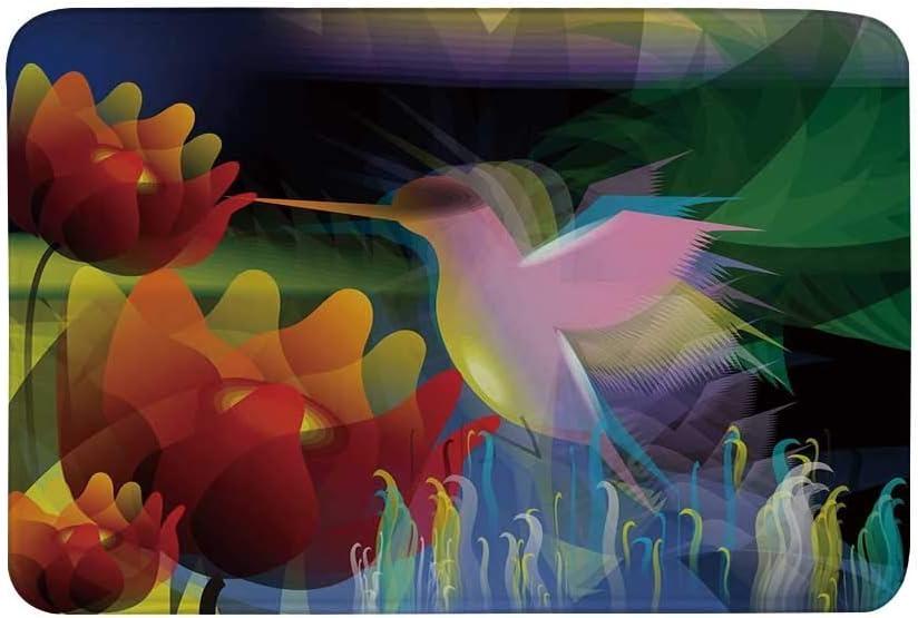 Kinhevao Alfombrilla Antideslizante para Arte, Pintura Digital de fantasía con un pájaro Que traga Miel de Flores Stock Fractal Artwork Alfombrilla Decorativa para baño Sala de Estar